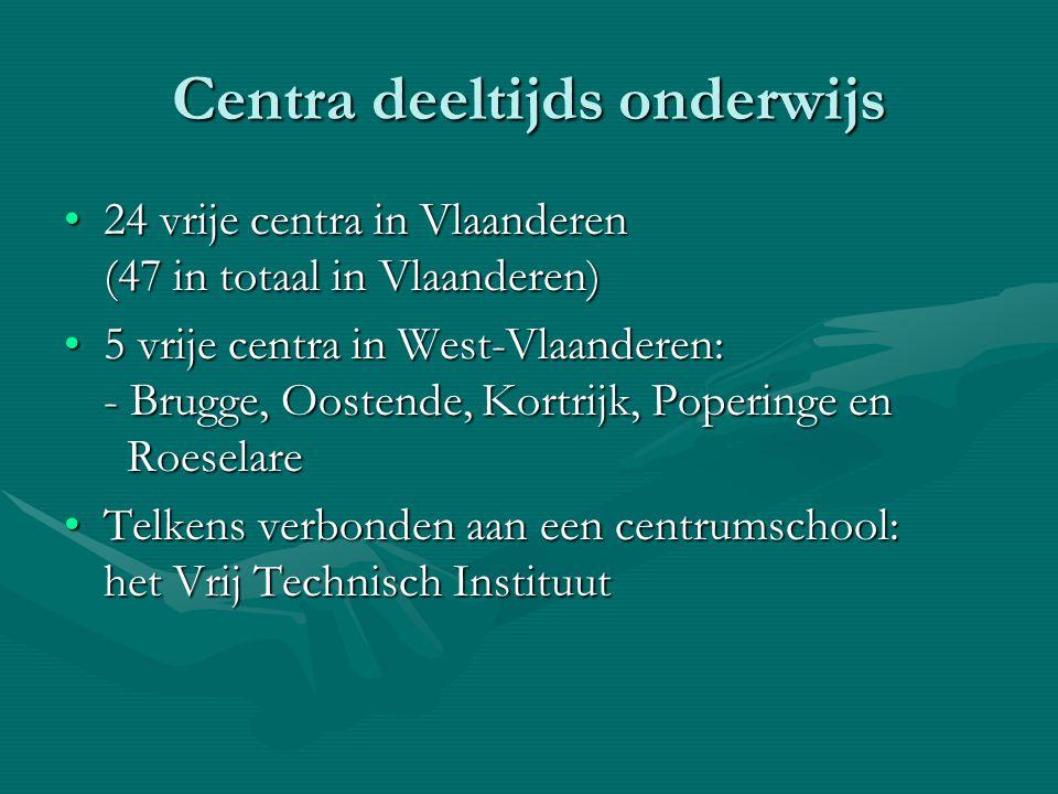 Centra deeltijds onderwijs 24 vrije centra in Vlaanderen (47 in totaal in Vlaanderen)24 vrije centra in Vlaanderen (47 in totaal in Vlaanderen) 5 vrij