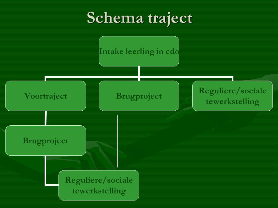 Schema traject Intake leerling in cdo Voortraject Brugproject Reguliere/sociale tewerkstelling Brugproject Reguliere/sociale tewerkstelling