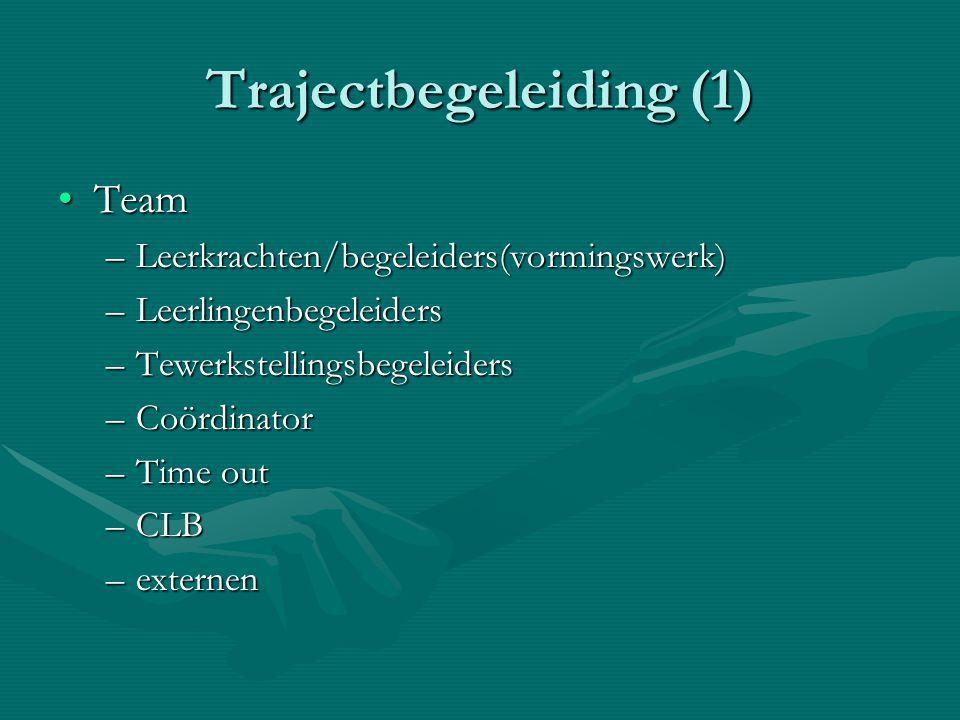 Trajectbegeleiding (1) TeamTeam –Leerkrachten/begeleiders(vormingswerk) –Leerlingenbegeleiders –Tewerkstellingsbegeleiders –Coördinator –Time out –CLB