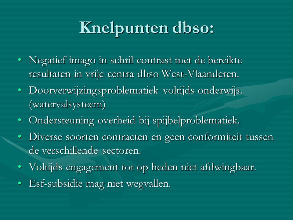 Knelpunten dbso: Negatief imago in schril contrast met de bereikte resultaten in vrije centra dbso West-Vlaanderen.Negatief imago in schril contrast m