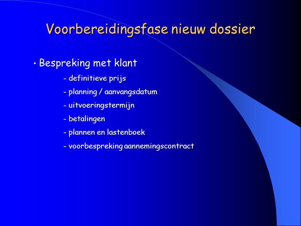 Voorbereidingsfase nieuw dossier Bespreking met klant - definitieve prijs - planning / aanvangsdatum - uitvoeringstermijn - betalingen - plannen en lastenboek - voorbespreking aannemingscontract