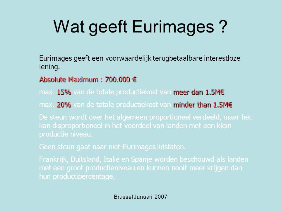 Brussel Januari 2007 Wat geeft Eurimages .