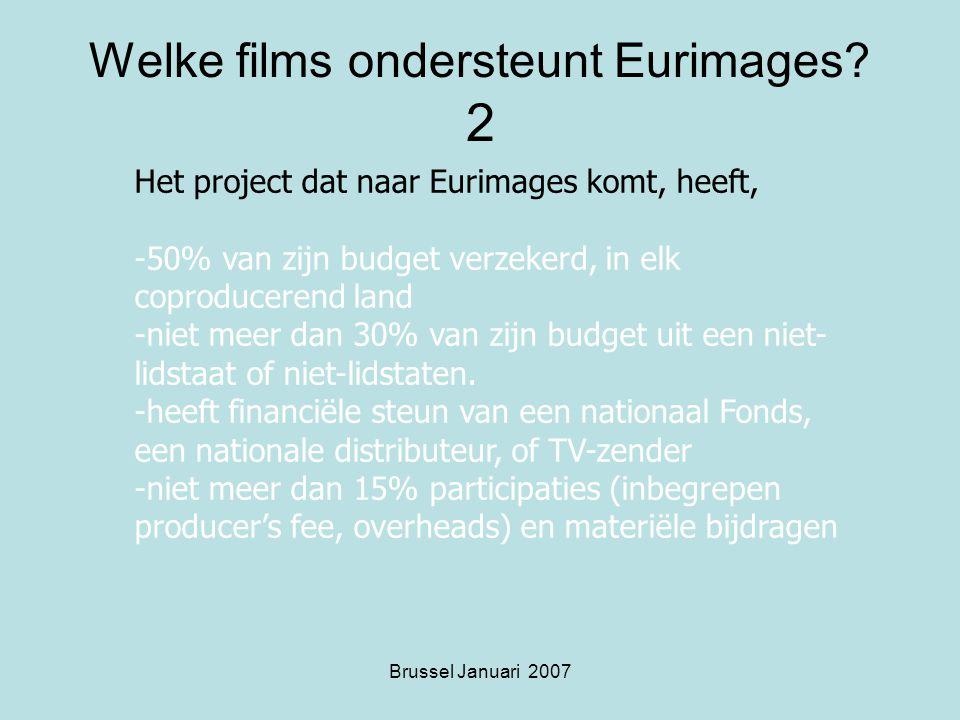 Brussel Januari 2007 Welke films ondersteunt Eurimages.