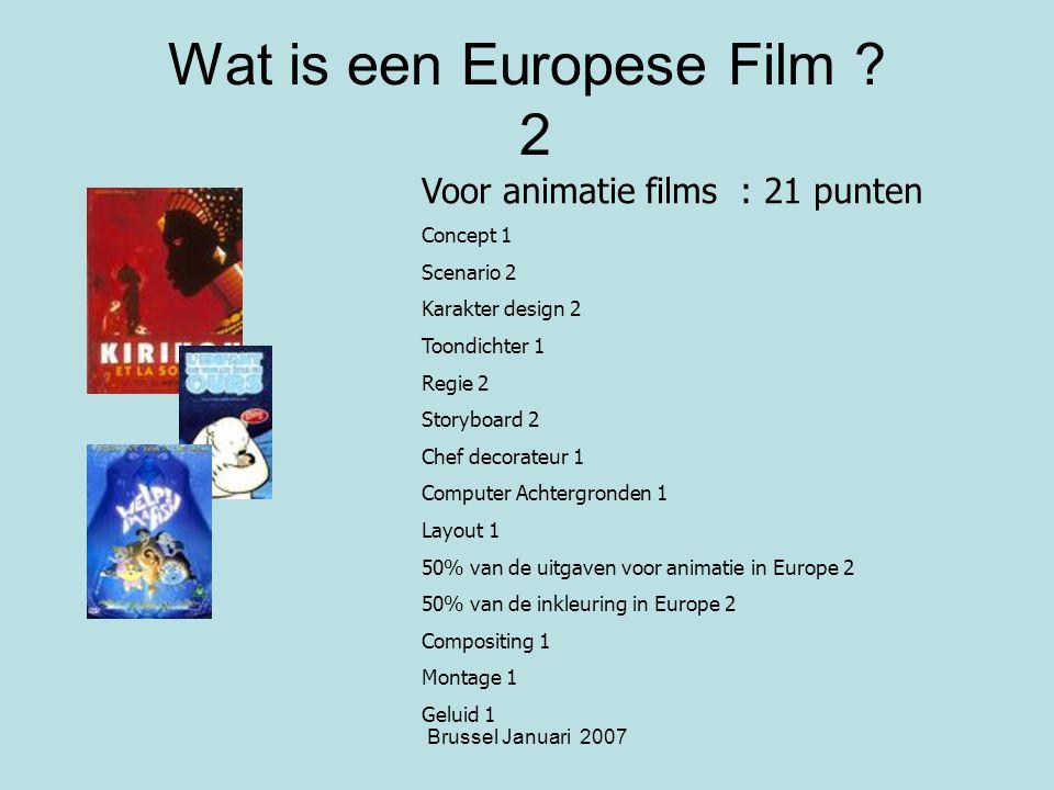 Brussel Januari 2007 Wat is een Europese Film .