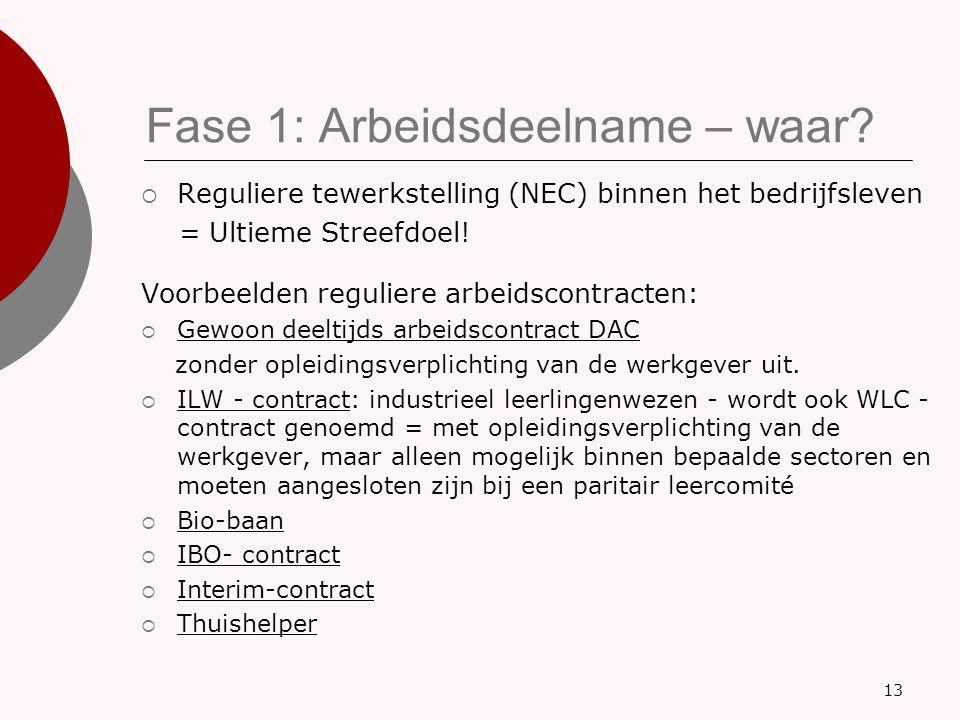 Fase 1: Arbeidsdeelname – waar?  Reguliere tewerkstelling (NEC) binnen het bedrijfsleven = Ultieme Streefdoel! Voorbeelden reguliere arbeidscontracte