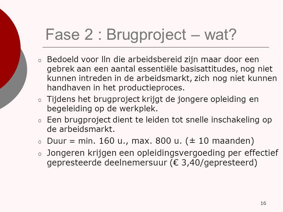 Fase 2 : Brugproject – wat? o Bedoeld voor lln die arbeidsbereid zijn maar door een gebrek aan een aantal essentiële basisattitudes, nog niet kunnen i