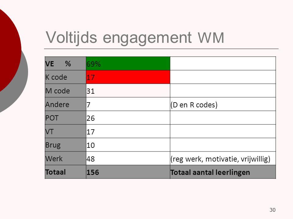 Voltijds engagement WM 30 VE %69% K code17 M code31 Andere7(D en R codes) POT26 VT17 Brug10 Werk48(reg werk, motivatie, vrijwillig) Totaal156Totaal aa