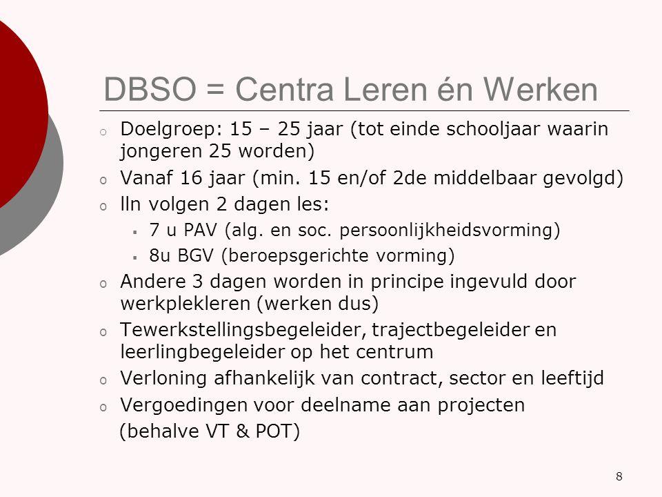 DBSO = Centra Leren én Werken o Doelgroep: 15 – 25 jaar (tot einde schooljaar waarin jongeren 25 worden) o Vanaf 16 jaar (min. 15 en/of 2de middelbaar