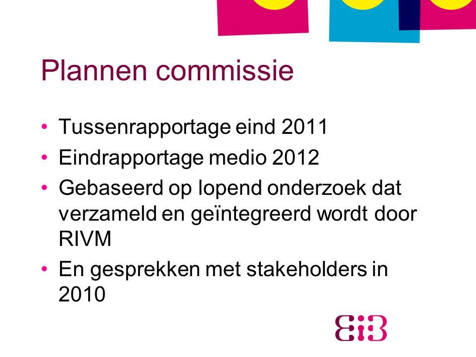 Plannen commissie Tussenrapportage eind 2011 Eindrapportage medio 2012 Gebaseerd op lopend onderzoek dat verzameld en geïntegreerd wordt door RIVM En gesprekken met stakeholders in 2010