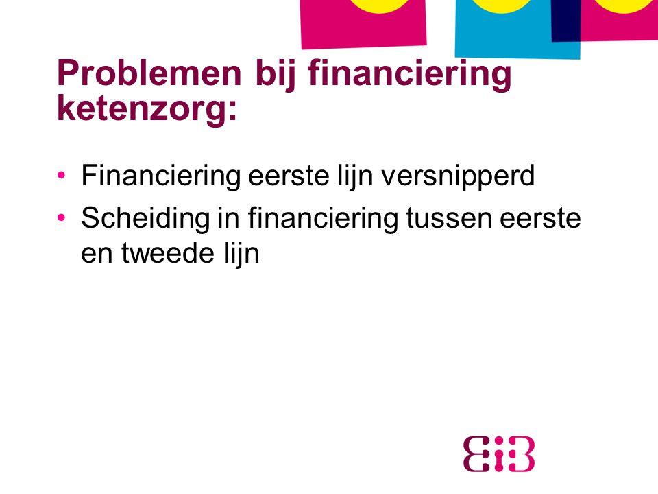 Problemen bij financiering ketenzorg: Financiering eerste lijn versnipperd Scheiding in financiering tussen eerste en tweede lijn