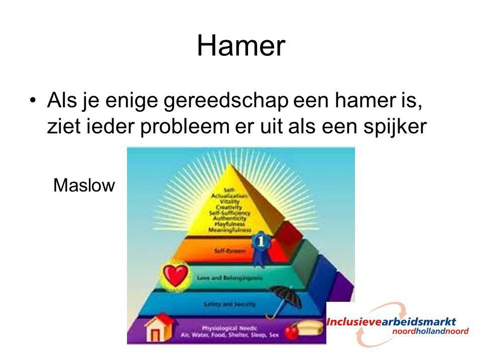 Hamer Als je enige gereedschap een hamer is, ziet ieder probleem er uit als een spijker Maslow