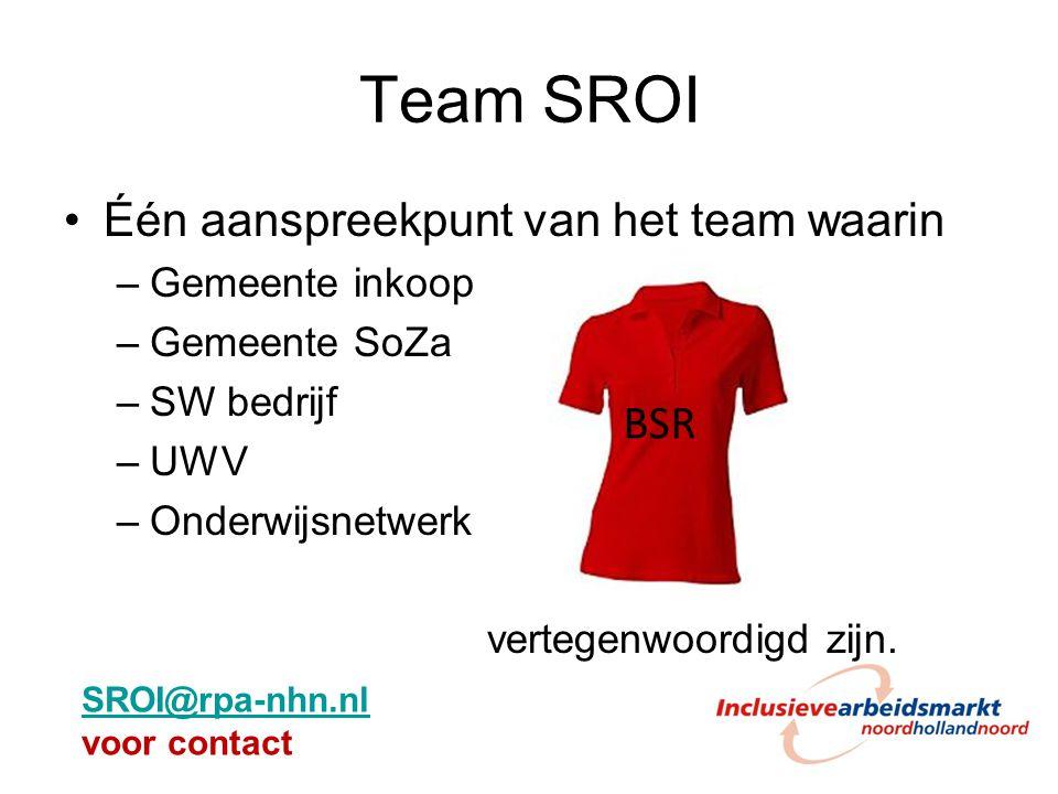 Team SROI Één aanspreekpunt van het team waarin –Gemeente inkoop –Gemeente SoZa –SW bedrijf –UWV –Onderwijsnetwerk vertegenwoordigd zijn. BSR SROI@rpa