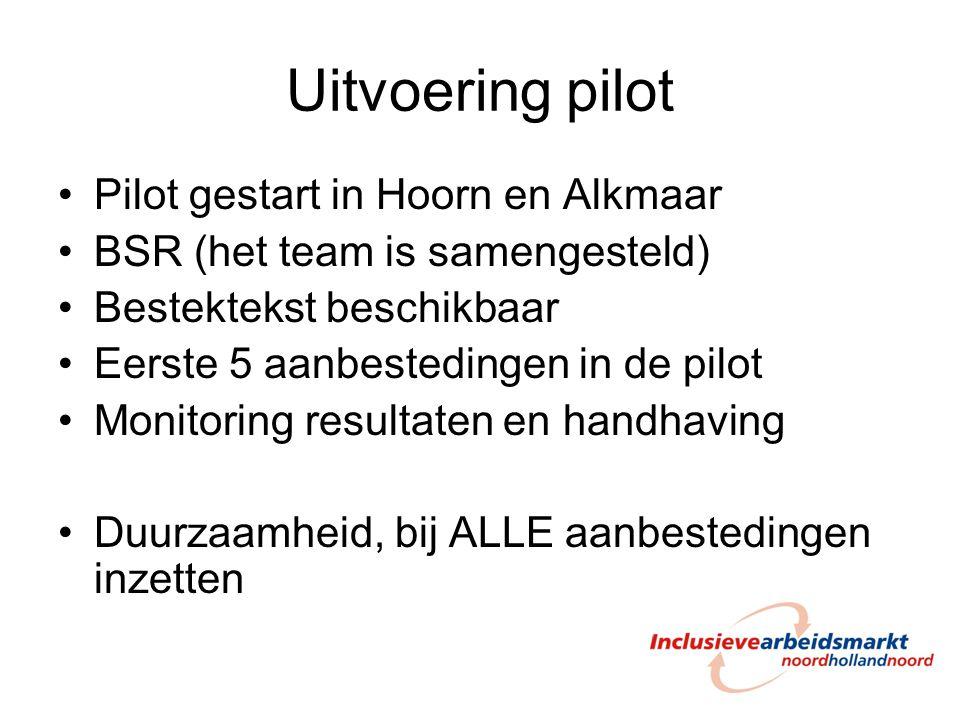 Uitvoering pilot Pilot gestart in Hoorn en Alkmaar BSR (het team is samengesteld) Bestektekst beschikbaar Eerste 5 aanbestedingen in de pilot Monitori