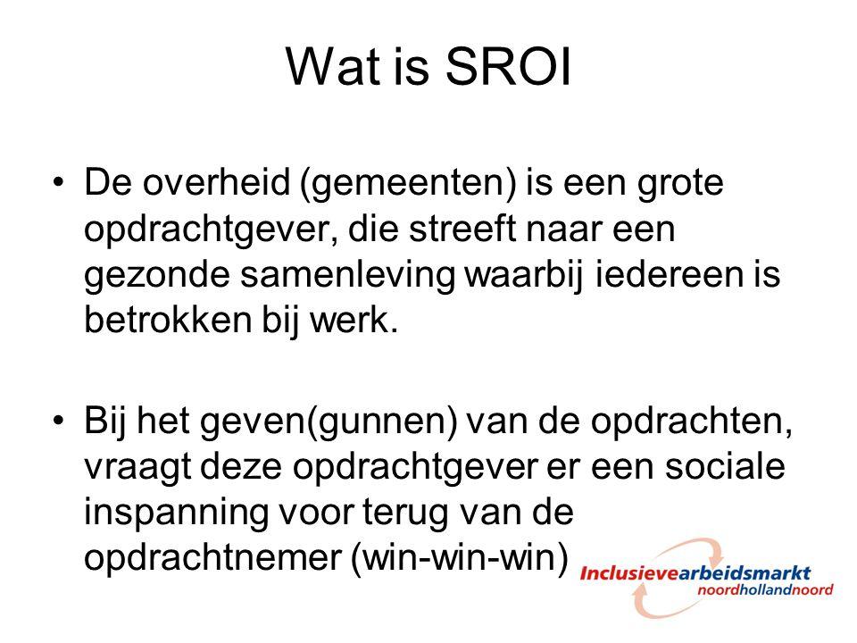 Wat is SROI De overheid (gemeenten) is een grote opdrachtgever, die streeft naar een gezonde samenleving waarbij iedereen is betrokken bij werk. Bij h