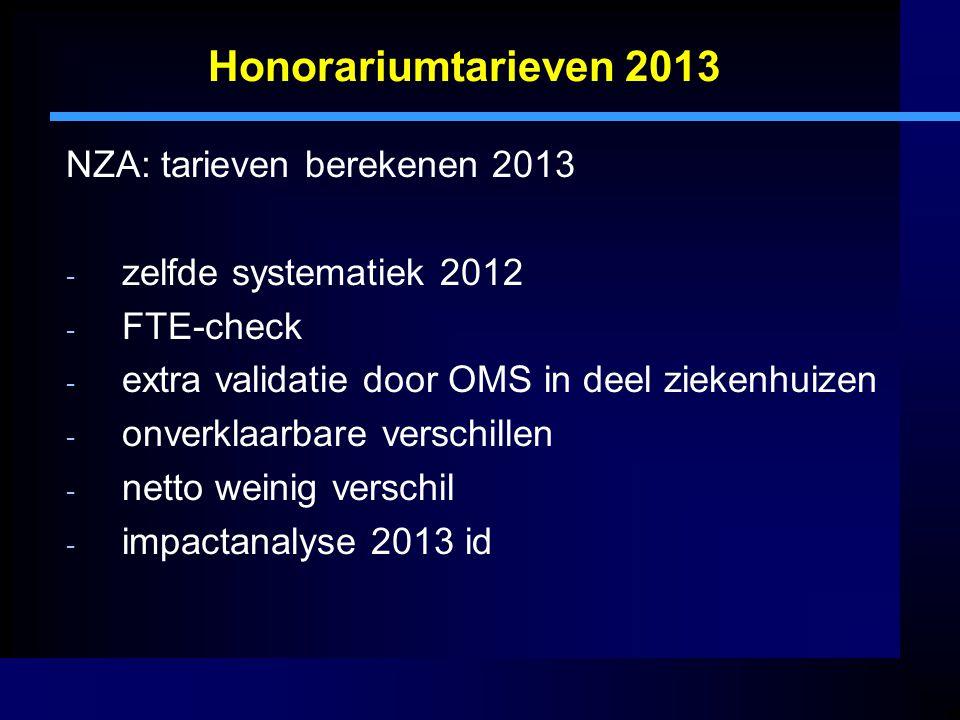 Honorariumtarieven 2013 NZA: tarieven berekenen 2013 - zelfde systematiek 2012 - FTE-check - extra validatie door OMS in deel ziekenhuizen - onverklaarbare verschillen - netto weinig verschil - impactanalyse 2013 id
