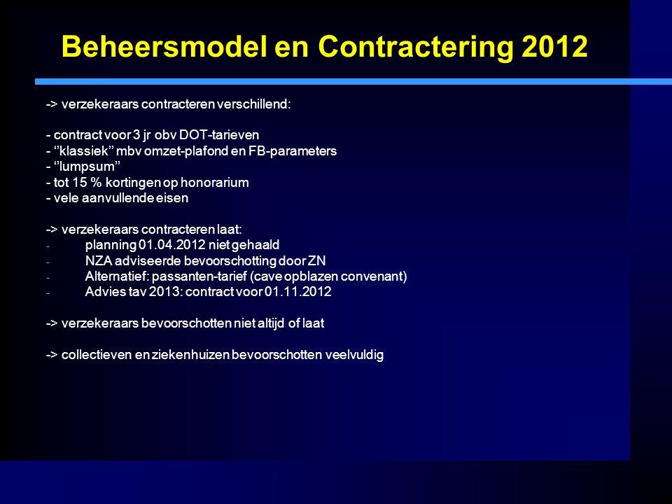 Beheersmodel en Contractering 2012 -> verzekeraars contracteren verschillend: - contract voor 3 jr obv DOT-tarieven - ''klassiek'' mbv omzet-plafond en FB-parameters - ''lumpsum'' - tot 15 % kortingen op honorarium - vele aanvullende eisen -> verzekeraars contracteren laat: - planning 01.04.2012 niet gehaald - NZA adviseerde bevoorschotting door ZN - Alternatief: passanten-tarief (cave opblazen convenant) - Advies tav 2013: contract voor 01.11.2012 -> verzekeraars bevoorschotten niet altijd of laat -> collectieven en ziekenhuizen bevoorschotten veelvuldig