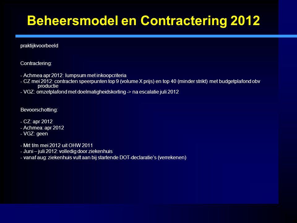 Beheersmodel en Contractering 2012 praktijkvoorbeeld Contractering: - Achmea apr 2012: lumpsum met inkoopcriteria - CZ mei 2012: contracten speerpunten top 9 (volume X prijs) en top 40 (minder strikt) met budgetplafond obv productie - VGZ: omzetplafond met doelmatigheidskorting -> na escalatie juli 2012 Bevoorschotting: - CZ: apr 2012 - Achmea: apr 2012 - VGZ: geen - Mrt t/m mei 2012 uit OHW 2011 - Juni – juli 2012: volledig door ziekenhuis - vanaf aug: ziekenhuis vult aan bij startende DOT-declaratie's (verrekenen)