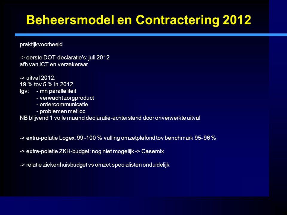 Beheersmodel en Contractering 2012 praktijkvoorbeeld -> eerste DOT-declaratie's: juli 2012 afh van ICT en verzekeraar -> uitval 2012: 19 % tov 5 % in 2012 tgv:- mn paralleliteit - verwacht zorgproduct - ordercommunicatie - problemen met icc NB blijvend 1 volle maand declaratie-achterstand door onverwerkte uitval -> extra-polatie Logex: 99 -100 % vulling omzetplafond tov benchmark 95- 96 % -> extra-polatie ZKH-budget: nog niet mogelijk -> Casemix -> relatie ziekenhuisbudget vs omzet specialisten onduidelijk