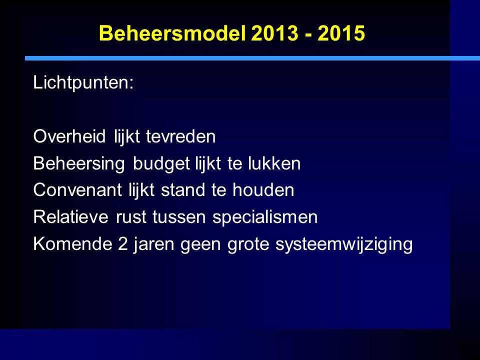 Beheersmodel 2013 - 2015 Lichtpunten: Overheid lijkt tevreden Beheersing budget lijkt te lukken Convenant lijkt stand te houden Relatieve rust tussen