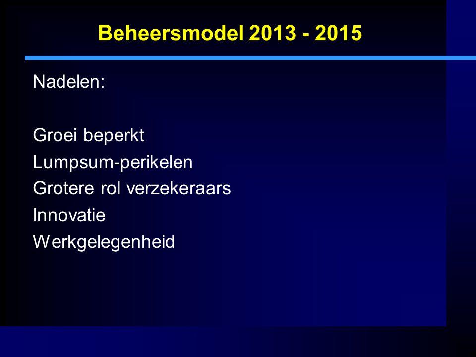 Beheersmodel 2013 - 2015 Nadelen: Groei beperkt Lumpsum-perikelen Grotere rol verzekeraars Innovatie Werkgelegenheid