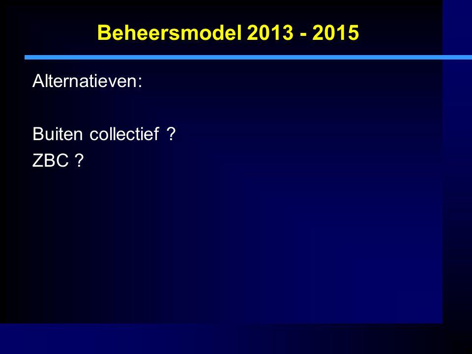 Beheersmodel 2013 - 2015 Alternatieven: Buiten collectief ? ZBC ?