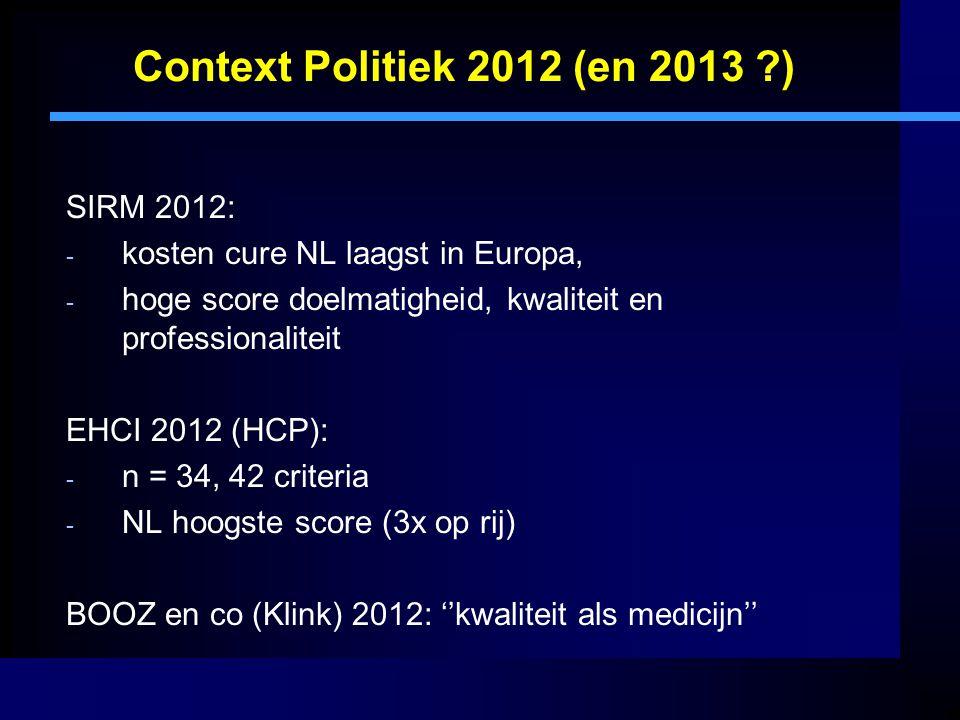 Context Politiek 2012 (en 2013 ?) SIRM 2012: - kosten cure NL laagst in Europa, - hoge score doelmatigheid, kwaliteit en professionaliteit EHCI 2012 (HCP): - n = 34, 42 criteria - NL hoogste score (3x op rij) BOOZ en co (Klink) 2012: ''kwaliteit als medicijn''