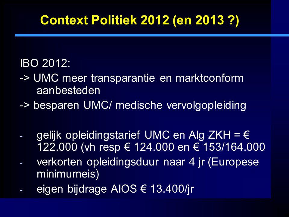 Context Politiek 2012 (en 2013 ?) IBO 2012: -> UMC meer transparantie en marktconform aanbesteden -> besparen UMC/ medische vervolgopleiding - gelijk opleidingstarief UMC en Alg ZKH = € 122.000 (vh resp € 124.000 en € 153/164.000 - verkorten opleidingsduur naar 4 jr (Europese minimumeis) - eigen bijdrage AIOS € 13.400/jr