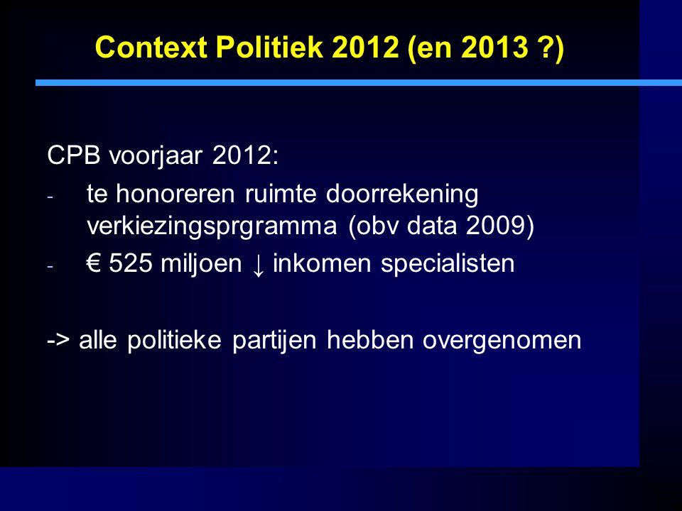 Context Politiek 2012 (en 2013 ?) CPB voorjaar 2012: - te honoreren ruimte doorrekening verkiezingsprgramma (obv data 2009) - € 525 miljoen ↓ inkomen