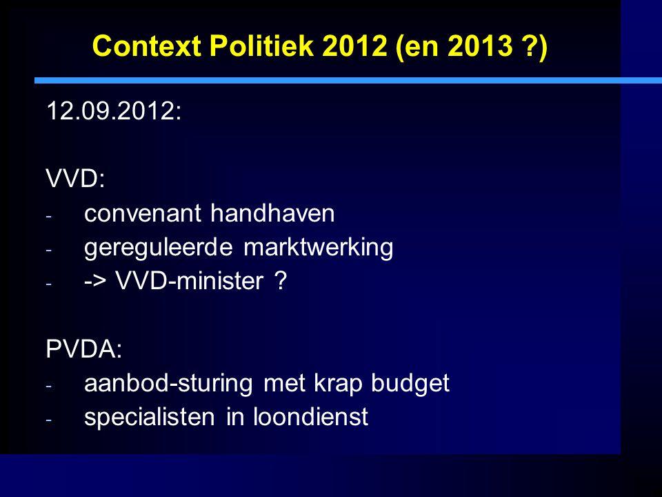 Context Politiek 2012 (en 2013 ?) 18.09.2012: Miljoenennota / begroting VWS: - Beleid ongewijzigd (regering tevreden !) - Doelmatigheid wordt leidraad - Korting opleidingsfonds € 15 miljoen in 2013