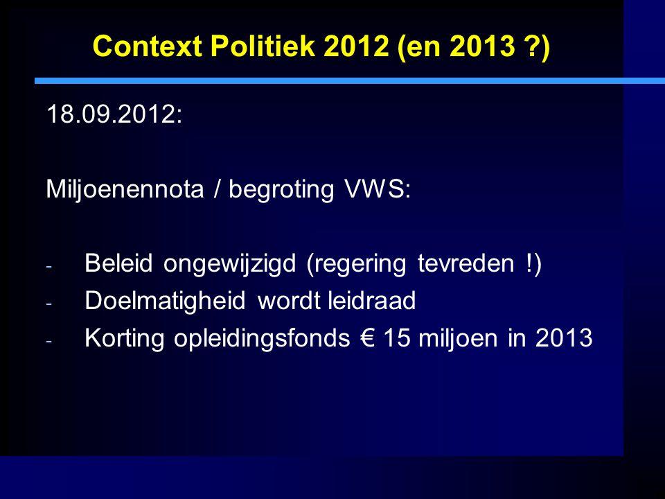 Context Politiek 2012 (en 2013 ?) 18.09.2012: Miljoenennota / begroting VWS: - Beleid ongewijzigd (regering tevreden !) - Doelmatigheid wordt leidraad