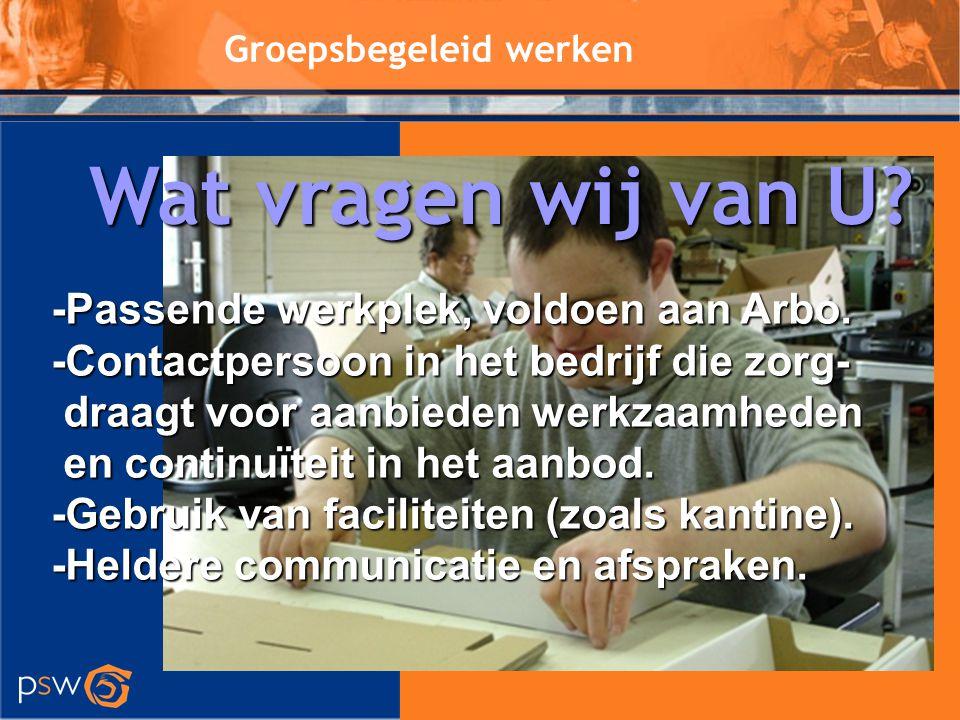 Groepsbegeleid werken -Passende werkplek, voldoen aan Arbo. -Contactpersoon in het bedrijf die zorg- draagt voor aanbieden werkzaamheden draagt voor a