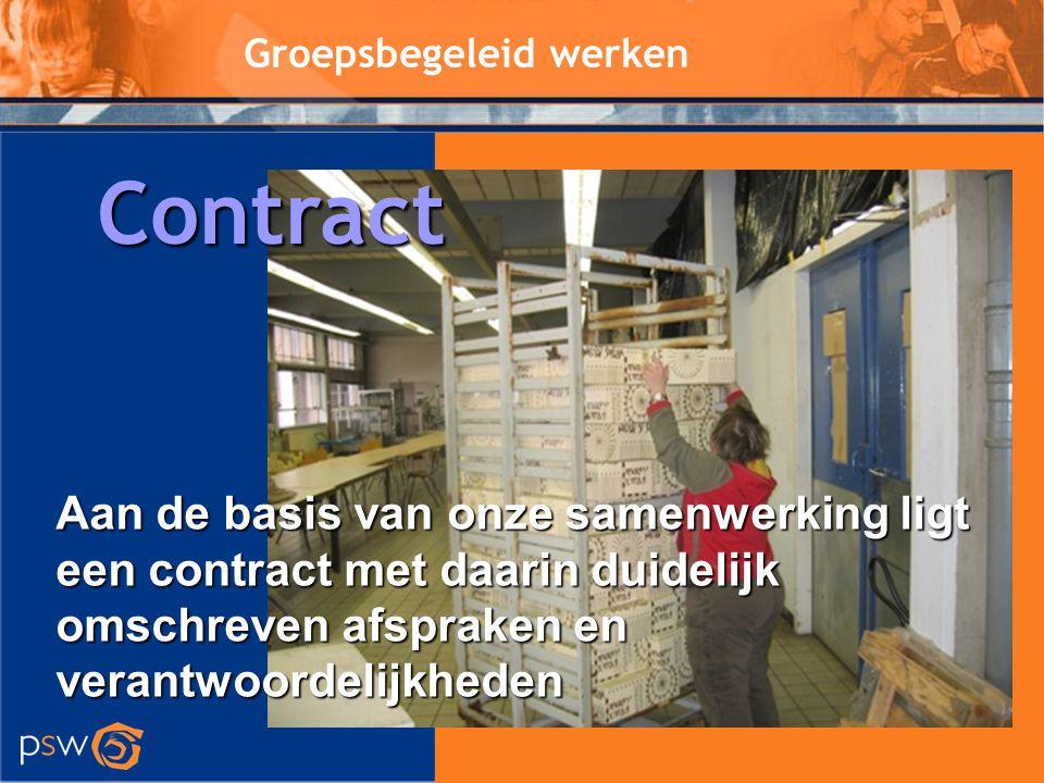 Groepsbegeleid werken Aan de basis van onze samenwerking ligt een contract met daarin duidelijk omschreven afspraken en verantwoordelijkheden Contract