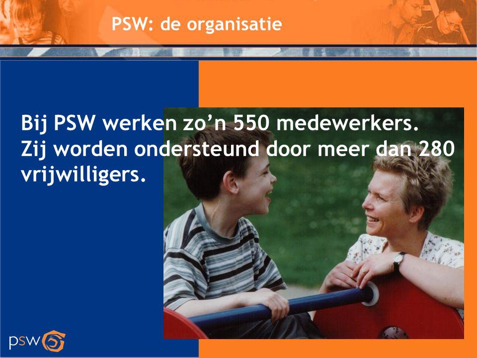 PSW: de organisatie Bij PSW werken zo'n 550 medewerkers. Zij worden ondersteund door meer dan 280 vrijwilligers.