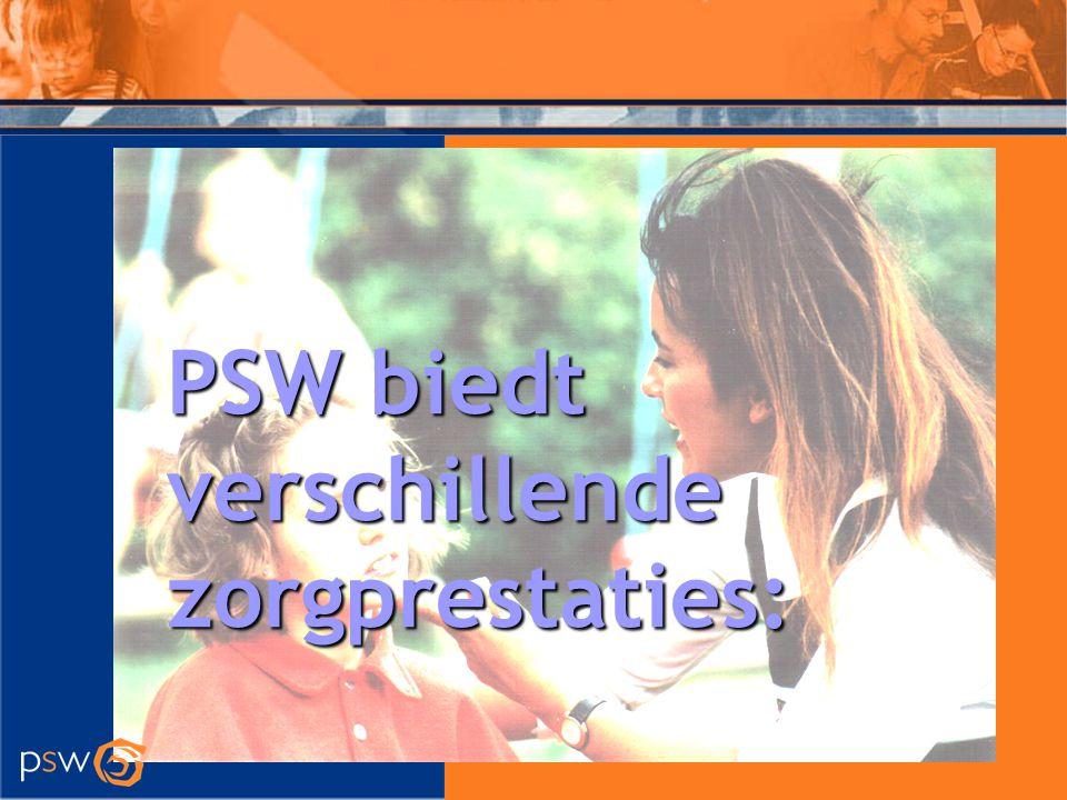 Zorgprestaties PSW Begeleiding bij het wonen In een WBC (woon begeleidings centrum) In een kleinschalige woonvoorziening Via Ondersteund Wonen