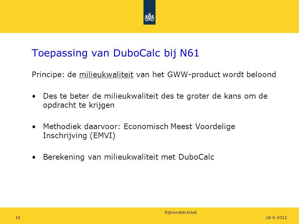 Rijkswaterstaat 1018-6-2012 Toepassing van DuboCalc bij N61 Principe: de milieukwaliteit van het GWW-product wordt beloond Des te beter de milieukwali