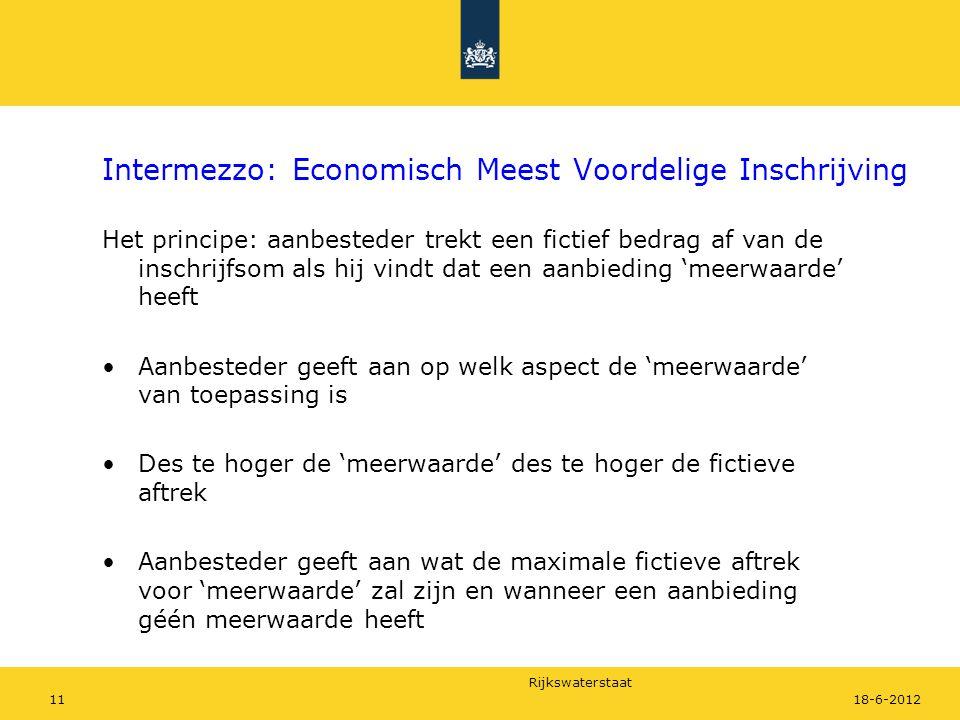 Rijkswaterstaat 1118-6-2012 Intermezzo: Economisch Meest Voordelige Inschrijving Het principe: aanbesteder trekt een fictief bedrag af van de inschrij