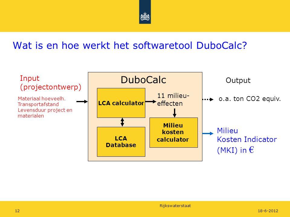 Rijkswaterstaat 1218-6-2012 Wat is en hoe werkt het softwaretool DuboCalc? LCA calculator Materiaal hoeveelh. Transportafstand Levensduur project en m