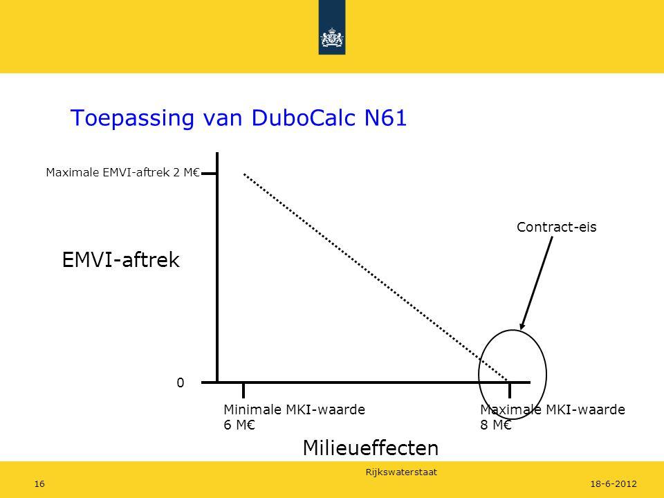 Rijkswaterstaat 1618-6-2012 Toepassing van DuboCalc N61 Maximale MKI-waarde 8 M€ Minimale MKI-waarde 6 M€ EMVI-aftrek 0 Maximale EMVI-aftrek 2 M€ Cont