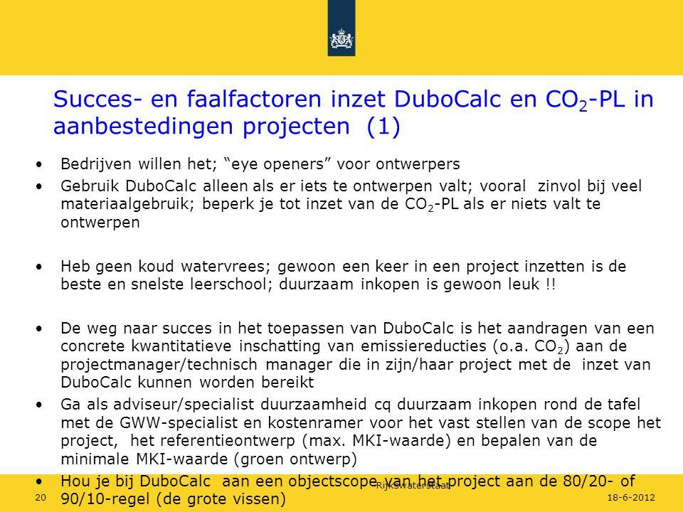 """Rijkswaterstaat 2018-6-2012 Succes- en faalfactoren inzet DuboCalc en CO 2 -PL in aanbestedingen projecten (1) Bedrijven willen het; """"eye openers"""" voo"""