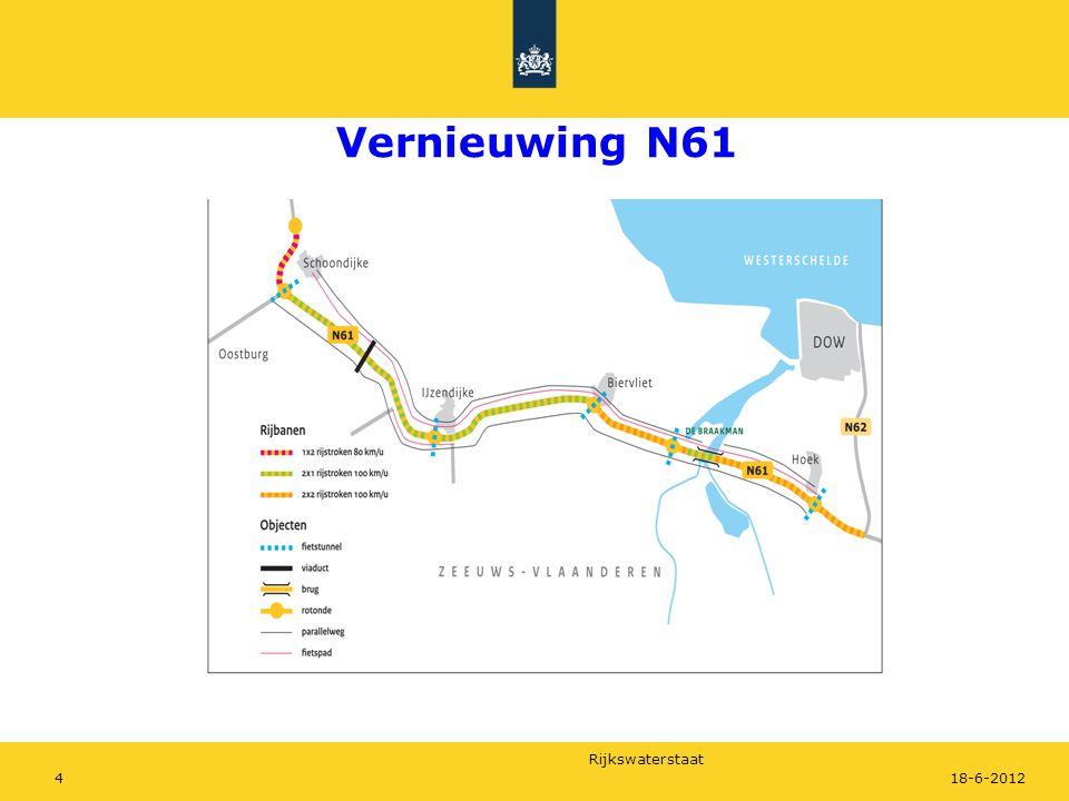 Rijkswaterstaat 518-6-2012 Vernieuwing wegproject N61 Projectdoelstellingen Verkeersveiligheid N61 en invloedsgebied Leefbaarheid Schoondijke Duurzaamheid MIRT-afspraken Oplevering eind 2014 Projectbudget 110 mln.
