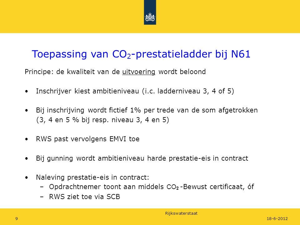 Rijkswaterstaat 918-6-2012 Principe: de kwaliteit van de uitvoering wordt beloond Inschrijver kiest ambitieniveau (i.c. ladderniveau 3, 4 of 5) Bij in