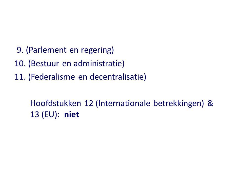 9. (Parlement en regering) 10. (Bestuur en administratie) 11. (Federalisme en decentralisatie) Hoofdstukken 12 (Internationale betrekkingen) & 13 (EU)