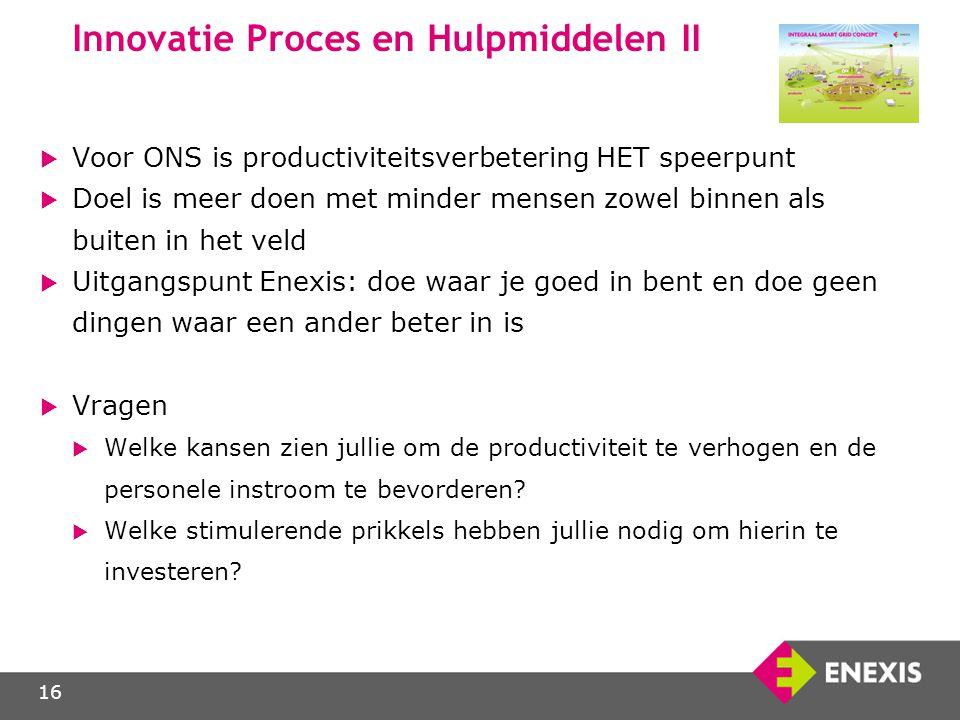 16 Innovatie Proces en Hulpmiddelen II  Voor ONS is productiviteitsverbetering HET speerpunt  Doel is meer doen met minder mensen zowel binnen als b
