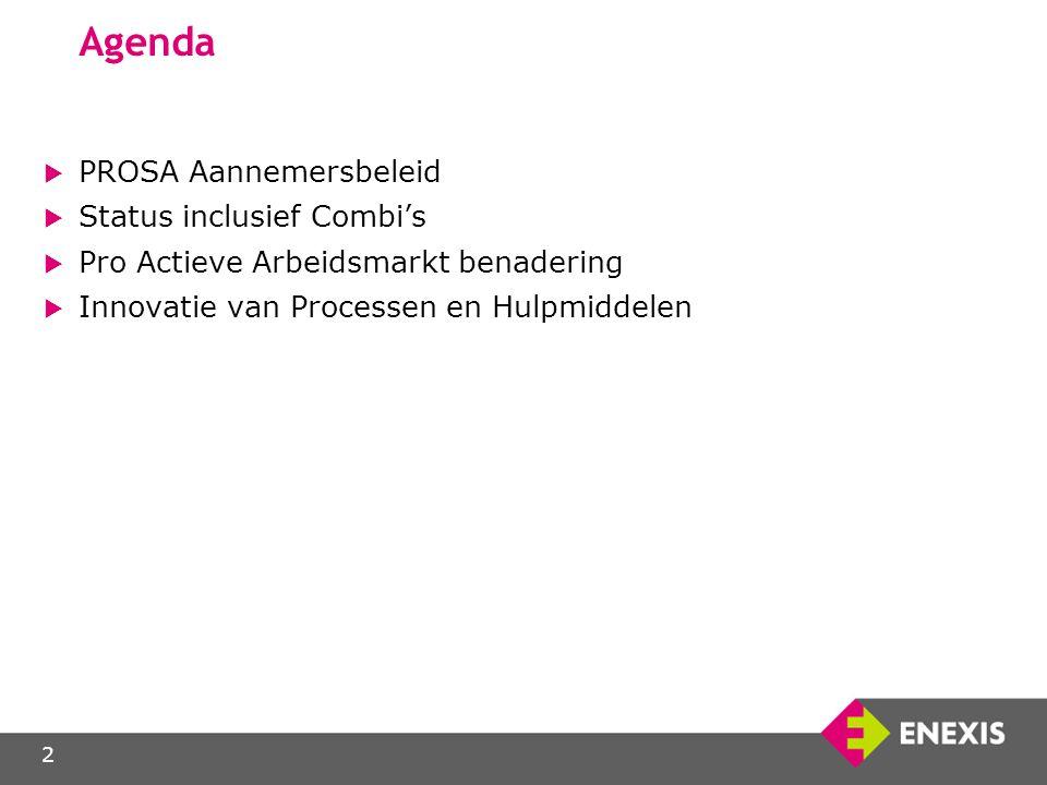 2 Agenda  PROSA Aannemersbeleid  Status inclusief Combi's  Pro Actieve Arbeidsmarkt benadering  Innovatie van Processen en Hulpmiddelen