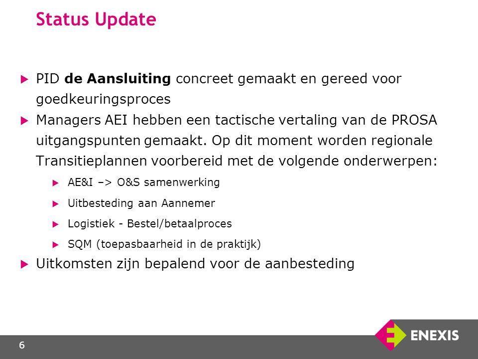 6 Status Update  PID de Aansluiting concreet gemaakt en gereed voor goedkeuringsproces  Managers AEI hebben een tactische vertaling van de PROSA uit