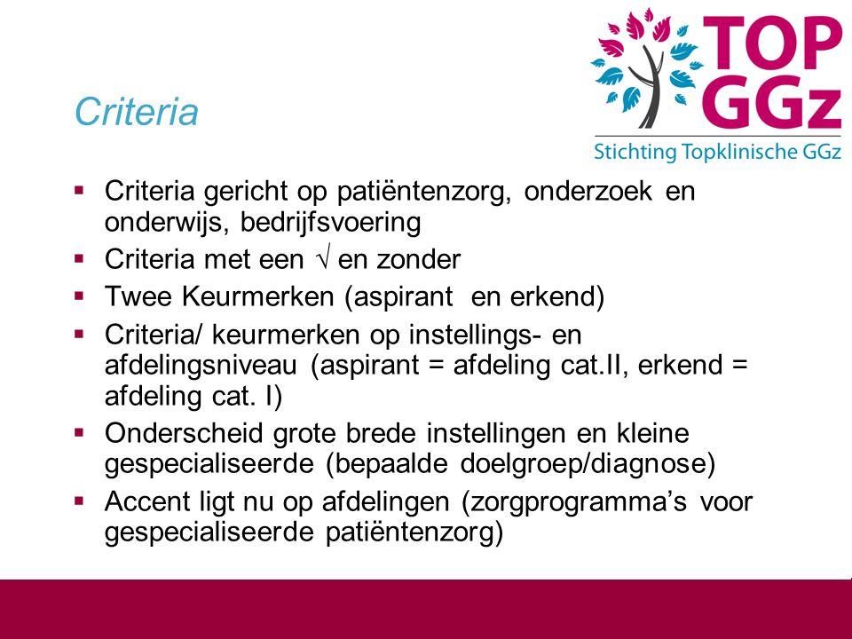 Criteria  Criteria gericht op patiëntenzorg, onderzoek en onderwijs, bedrijfsvoering  Criteria met een √ en zonder  Twee Keurmerken (aspirant en er