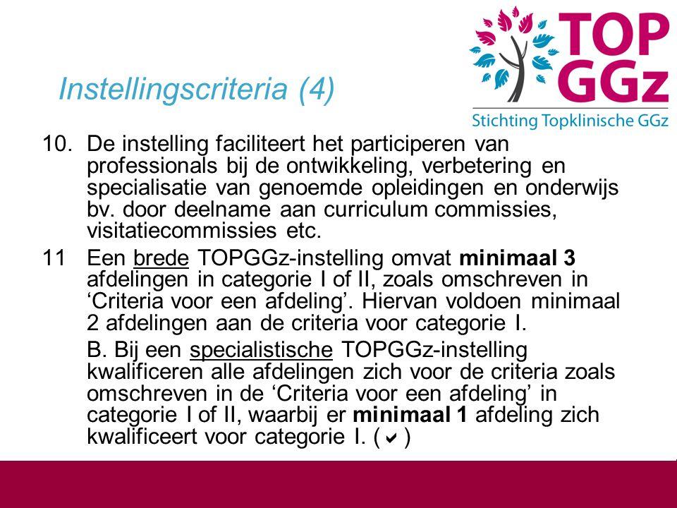 Instellingscriteria (4) 10.De instelling faciliteert het participeren van professionals bij de ontwikkeling, verbetering en specialisatie van genoemde
