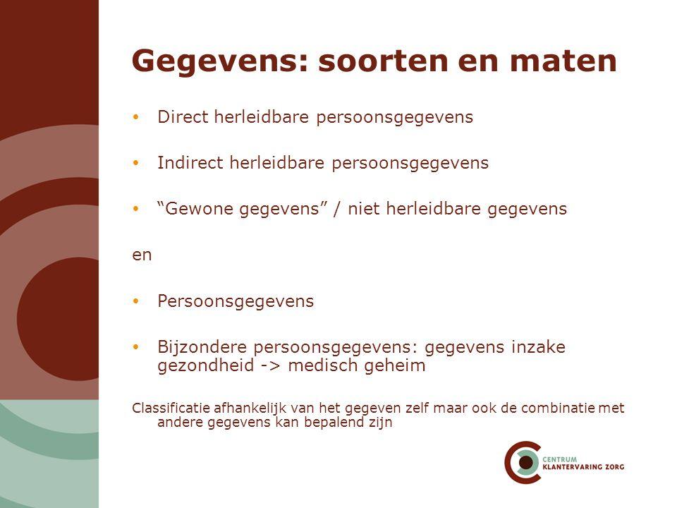 """Gegevens: soorten en maten  Direct herleidbare persoonsgegevens  Indirect herleidbare persoonsgegevens  """"Gewone gegevens"""" / niet herleidbare gegeve"""