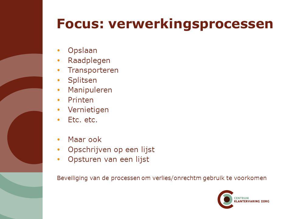 Focus: verwerkingsprocessen  Opslaan  Raadplegen  Transporteren  Splitsen  Manipuleren  Printen  Vernietigen  Etc. etc.  Maar ook  Opschrijv