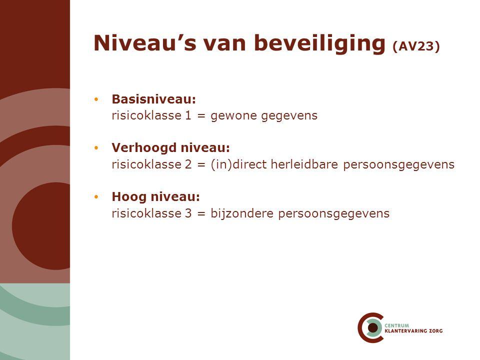 Niveau's van beveiliging (AV23)  Basisniveau: risicoklasse 1 = gewone gegevens  Verhoogd niveau: risicoklasse 2 = (in)direct herleidbare persoonsgeg